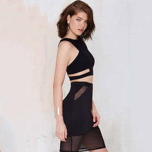 Solid Black Seam Sheer Mesh Mini Skirts High Waist Patchwork - BOUTIQUEKOM
