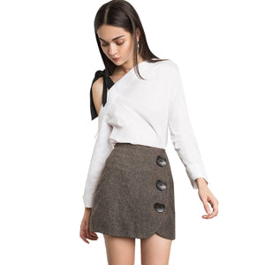 Women Plaid Mini Skirts Zipper Back Buttons Side High Waist Female Vitang Casual Skirts - BOUTIQUEKOM