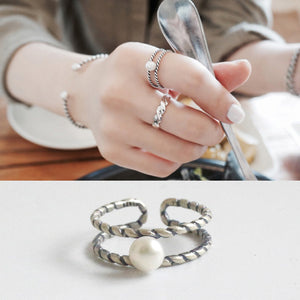 Pure 925 Sterling Silver Retro Trendy Two Layer Twisted Pearl Open Ring - BOUTIQUEKOM