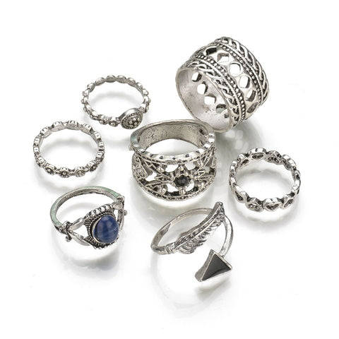 7pcs Ring Sets Alloy Metal Hollow Statement Rings Vintage - BOUTIQUEKOM