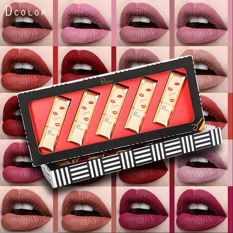2018 pudaier brand 5pcs matte lipstick set brown chocolate rose red lipstick