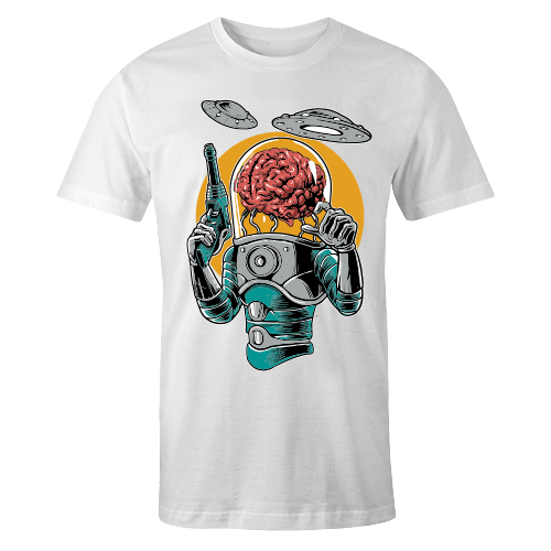 Alien Brain Sublimation White Dryfit Shirt