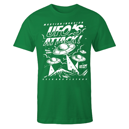 Space Attack Green Cotton Shirt
