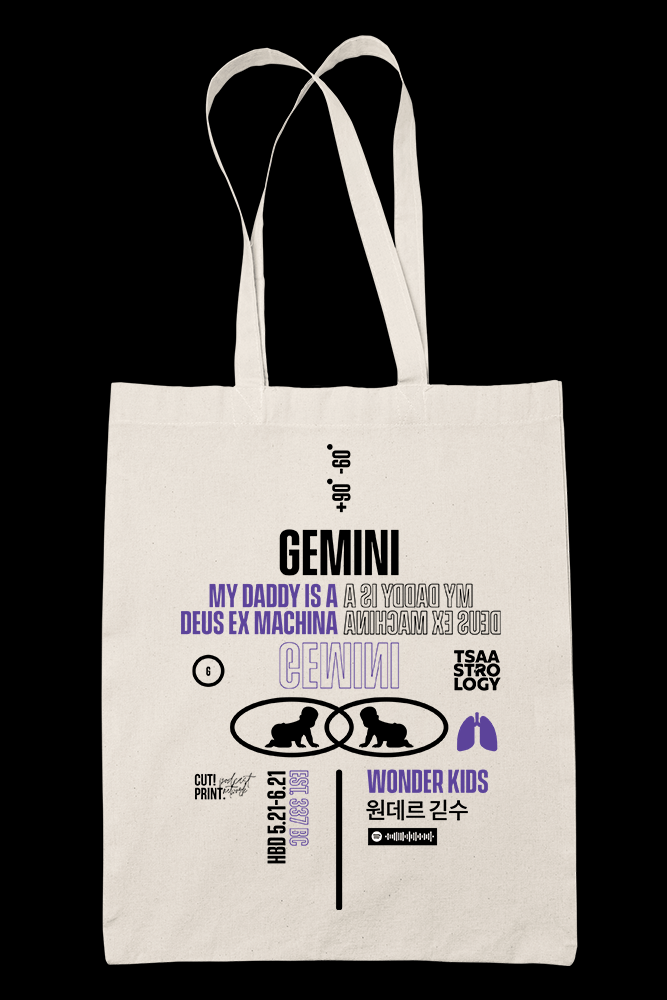 Tsaastrology - GEMINI Sublimation Canvass Tote Bag