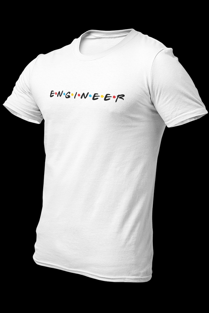 Engineer Friends Embroidered Cotton White Shirt