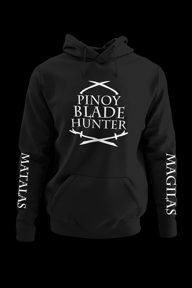 Pinoy Blade Hunter with left and right sleeve print Black Hoodie