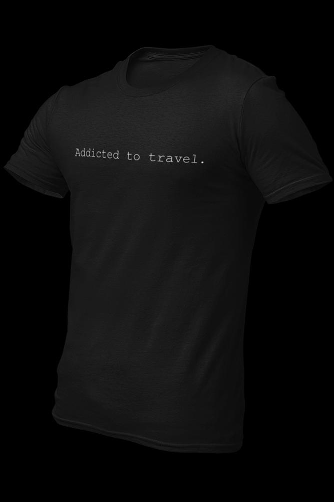 Addicted to travel Black Cotton Shirt