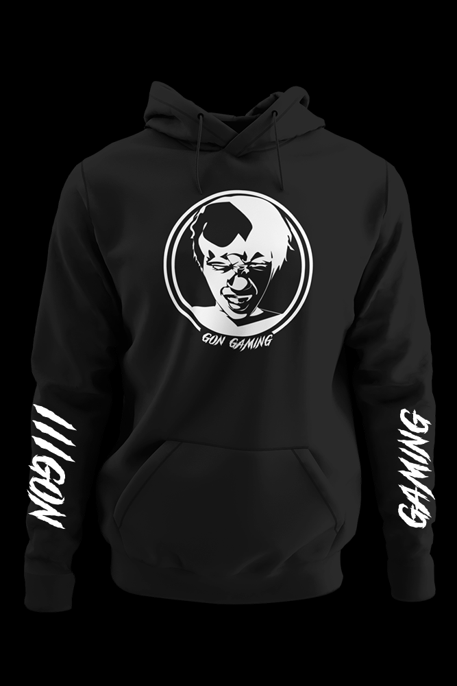 Gon Gaming Black Hoodie two w/ sleeves print