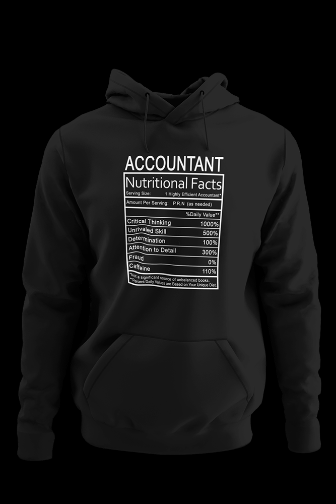 Accountant Nutritional Facts Black Hoodie