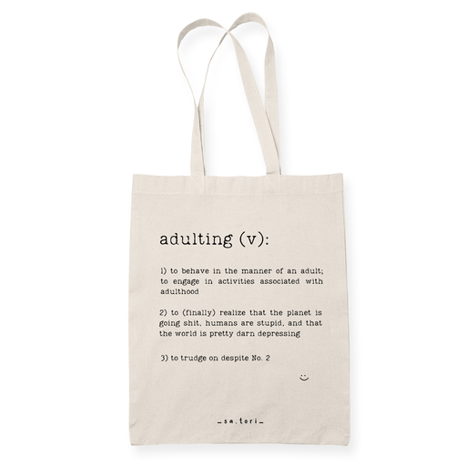 Adulting Sublimation Canvass Tote Bag