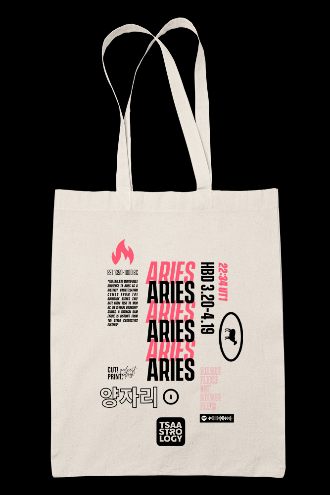 Tsaastrology - ARIES Sublimation Canvass Tote Bag