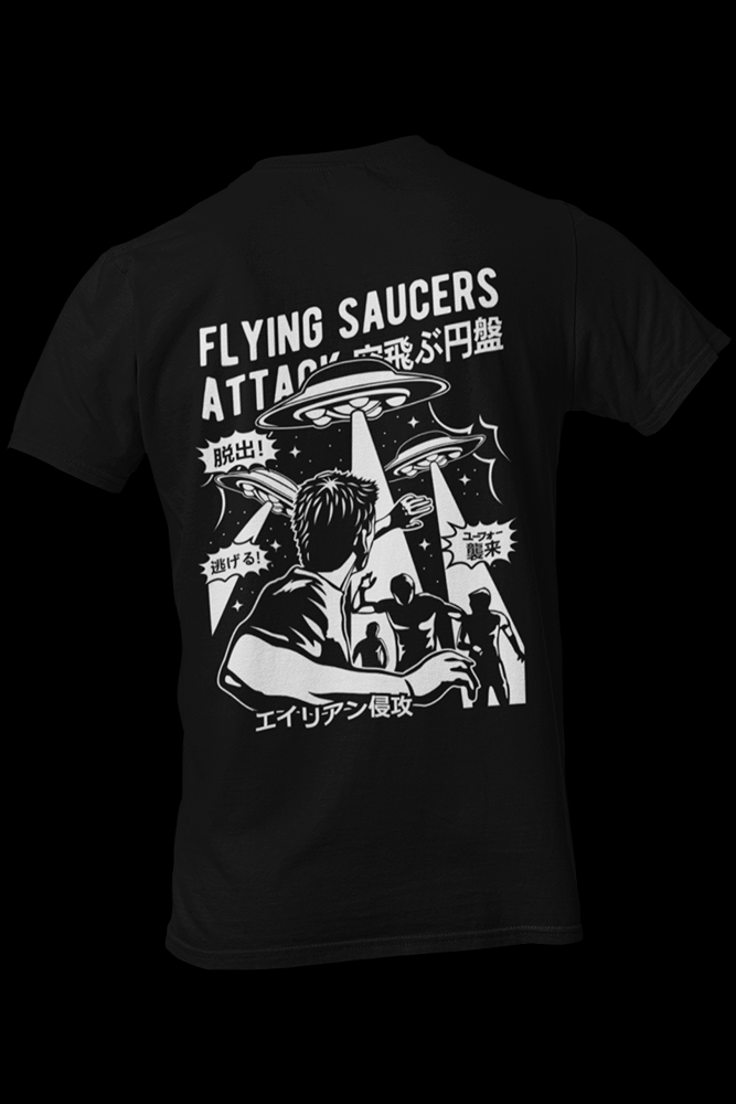 Space Saucer Black Cotton Shirt Front and Back Print