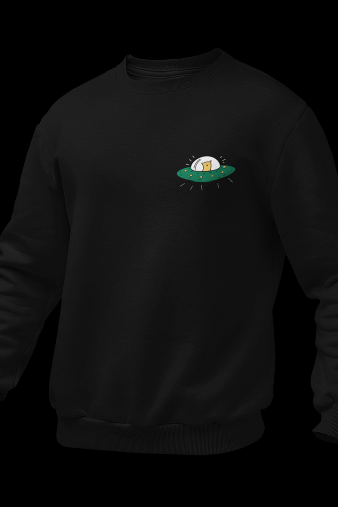 UFO Animal Black Embroidered Cotton Sweatshirt