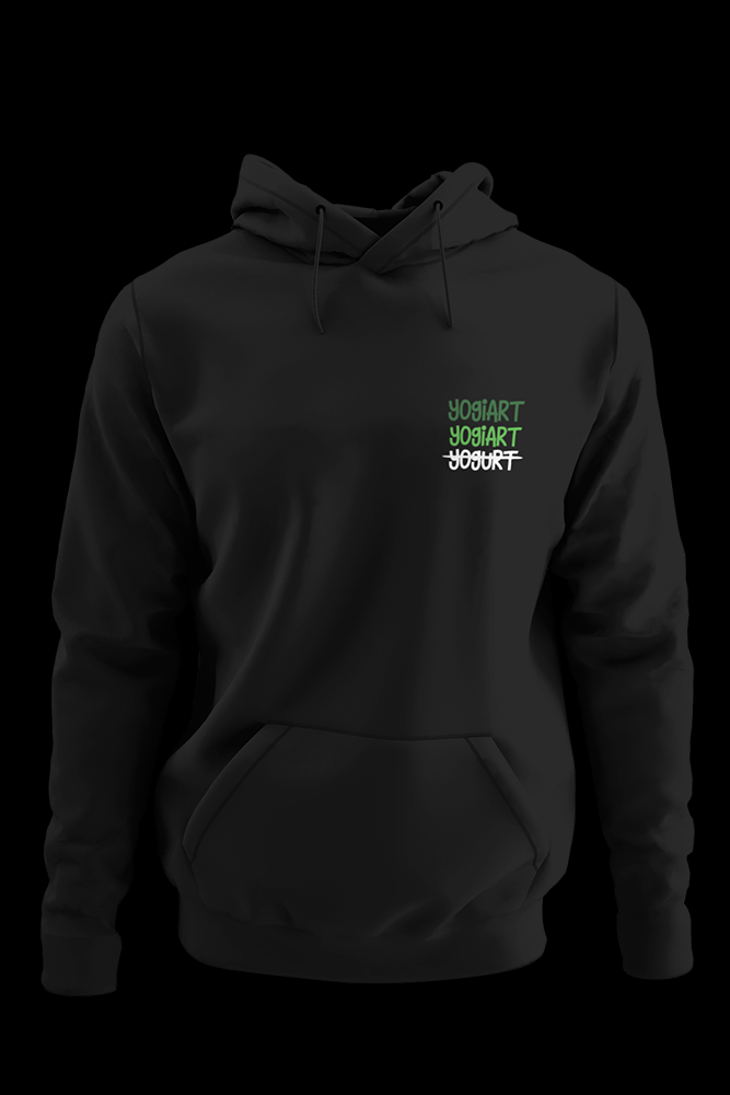 yogurt pocket size embroidered Black Hoodie