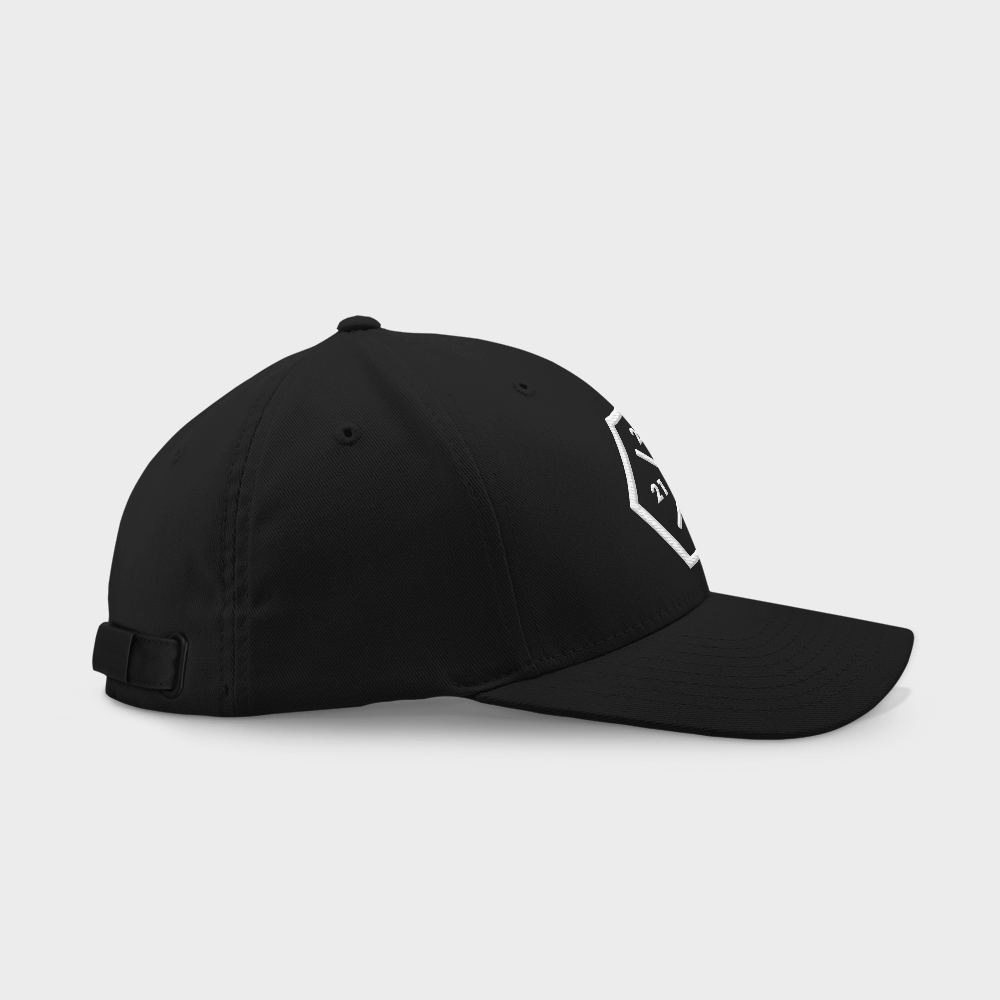 21 200 100 50 Black Embroidered Cap