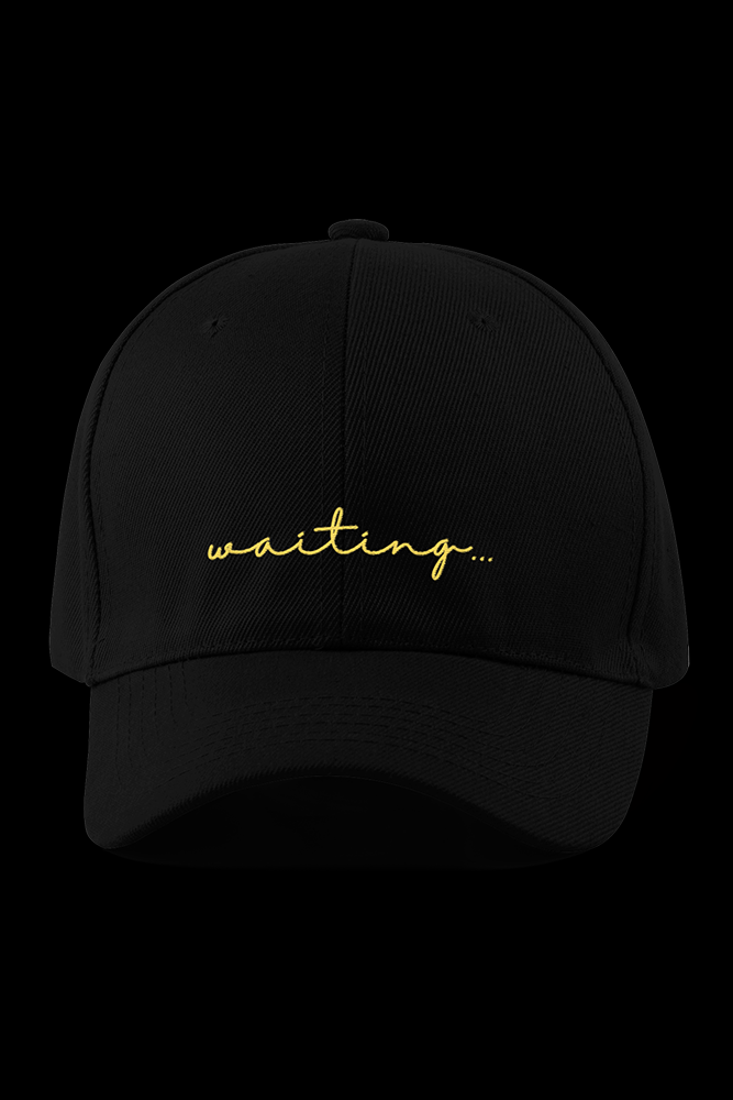 WAITING Black Embroidered Cap