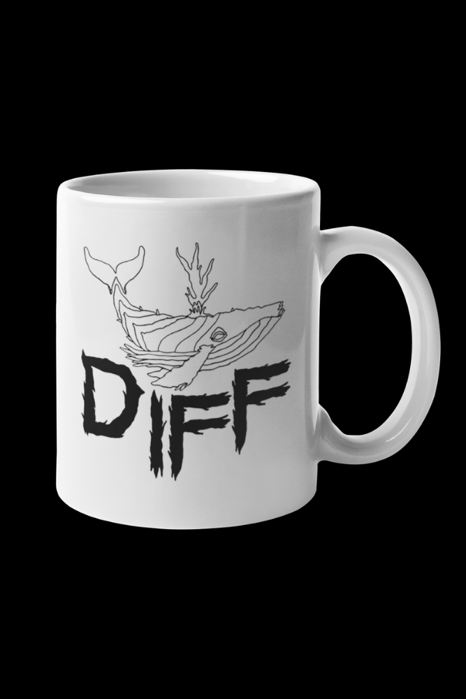 Diff Whale Logo Sublimation White Mug