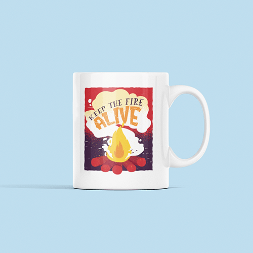 Keep The Fire Alive Sublimation White Mug