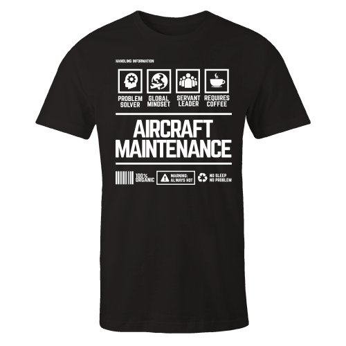 Aircraft Maintenance Handling Black Cotton Shirt