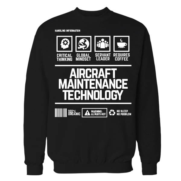 Aircraft Maintenance And Technology Handling Black Cotton Shirt