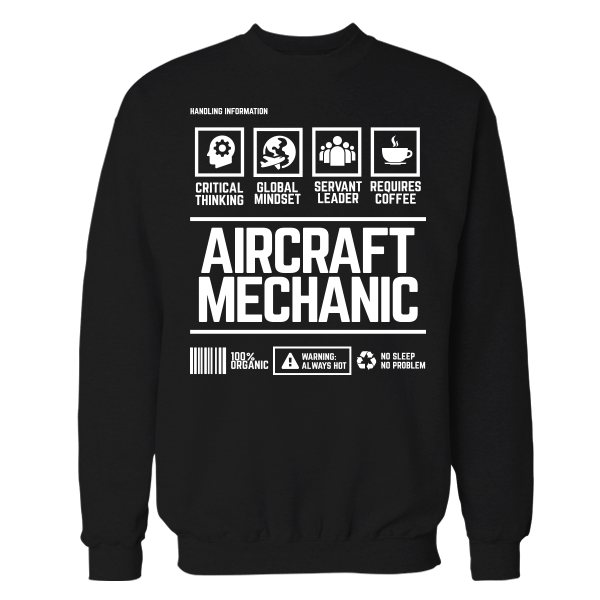 Aircraft Mechanic Handling Black Cotton Shirt