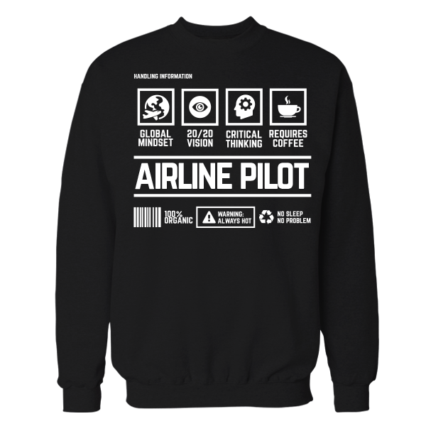 Airline Pilot Handling Handling Black Cotton Shirt