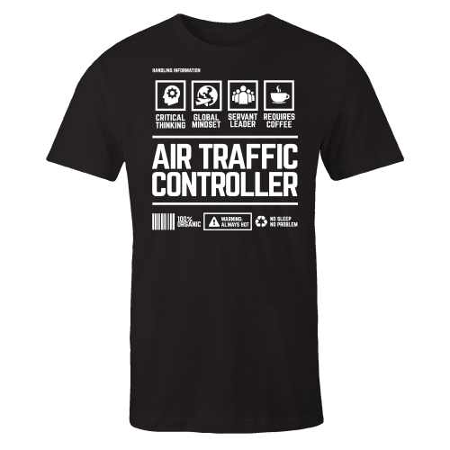 Air Traffic Controller Handling Black Cotton Shirt
