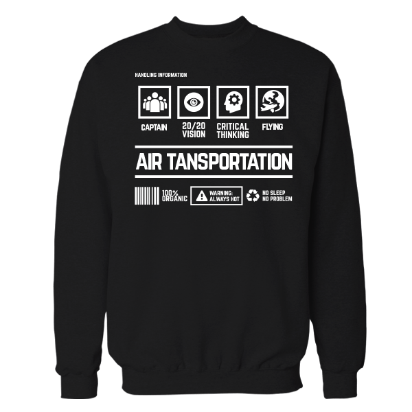 Air Transportation Handling Black Cotton Shirt