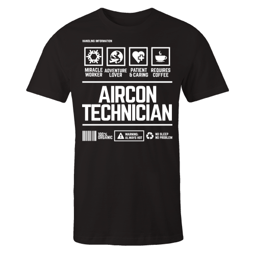 Aircon Technician Handling Black Cotton Shirt