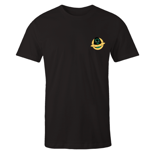 Alien Ship Embroidered Cotton Black Shirt