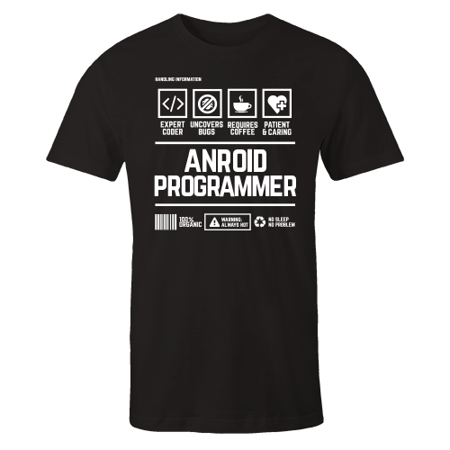 Android Programmer Handling Black Cotton Shirt