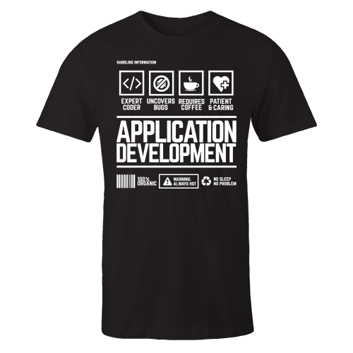 Application Development Handling Black Cotton Shirt