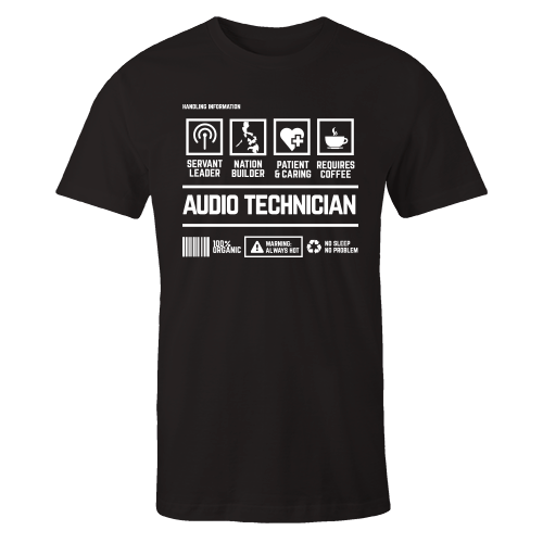 Audio Technician Handling Black Cotton Shirt