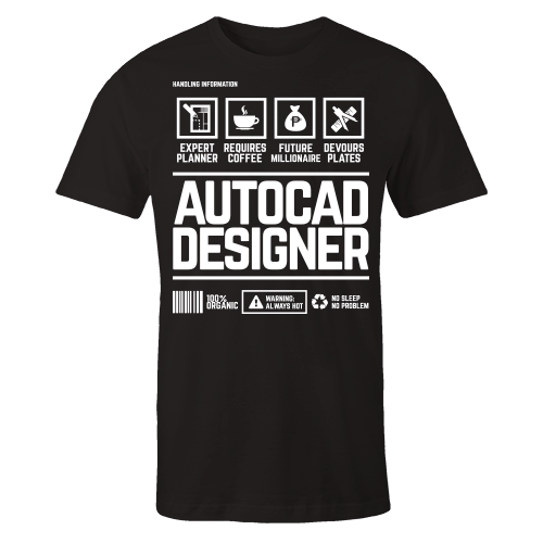 Autocad Designer Handling Black Cotton Shirt