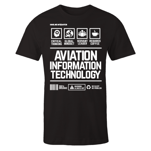 Aviation Information Technology Handling Black Cotton Shirt