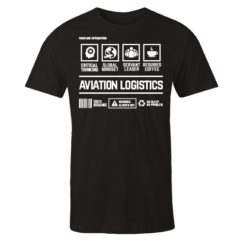 Aviation Logistics Handling Black Cotton Shirt