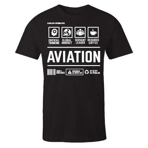 Aviation Handling Black Cotton Shirt