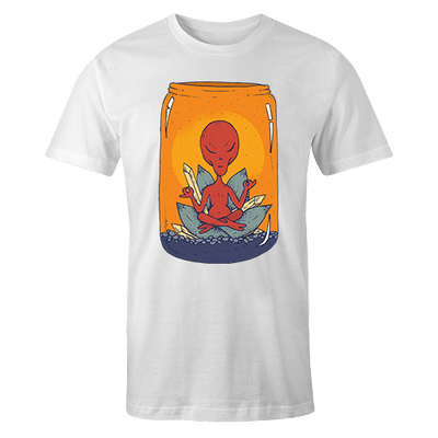Alien Meditate Sublimation White Dryfit Shirt