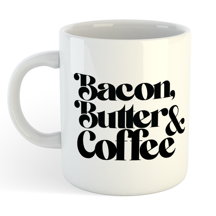 BACON BUTTER COFFEE Sublimation White Mug