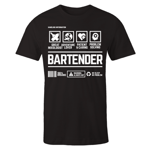 Bartender Handling Black Cotton Shirt