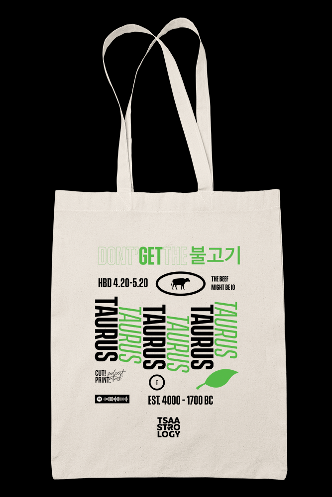 Tsaastrology - TAURUS Sublimation Canvass Tote Bag
