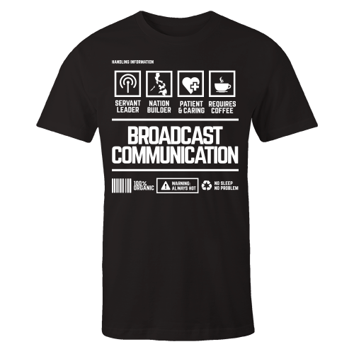 Broadcast Communication Handling Black Cotton Shirt