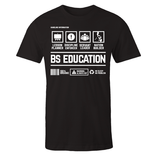 BS Education Handling Black Cotton Shirt