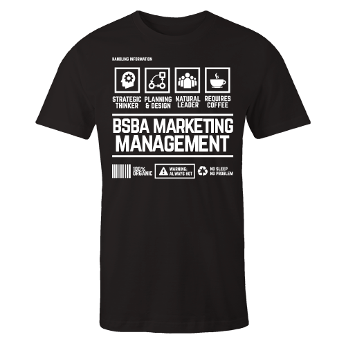 BSBA Marketing Management Handling Black Cotton Shirt