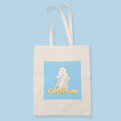 Cattitude Sublimation Canvass Tote Bag