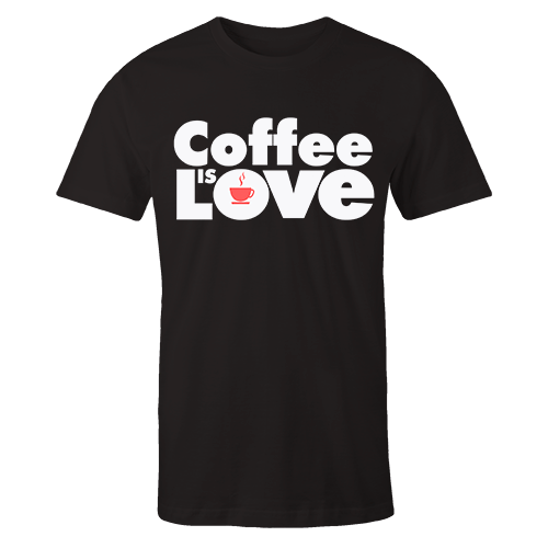 Kape is love Black Cotton Shirt