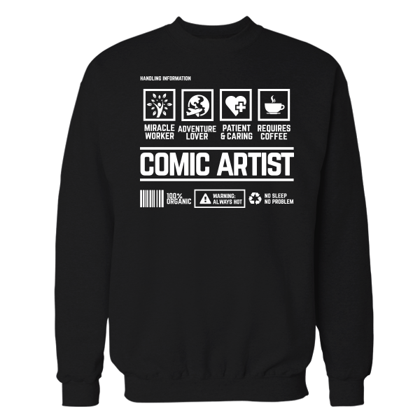 Comic Artist Handling Black Shirt