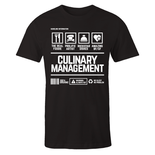 Culinary Management Handling Black Shirt