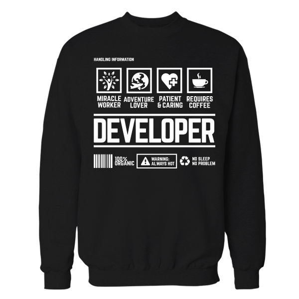 Developer Handling Black Shirt