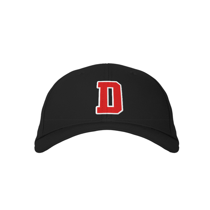 Letter D Black Embroidered Cap
